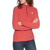 North Face 100 Glacier Quarter Zip Womens Fleece - Cardinal Red Juicy Red Stripe