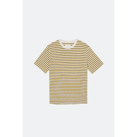T-Shirt a Manica Corta Folk Classic Stripe - Ecru Golden Yellow