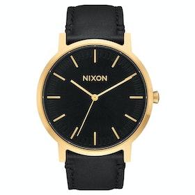 Nixon Porter Leather Herren Uhr - Gold Black