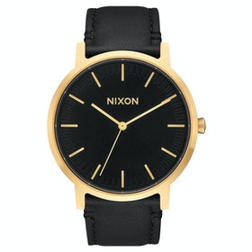 Nixon Porter Leather Watch - Gold Black
