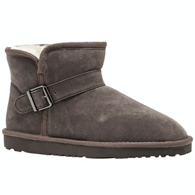 Derby House Pro Faux Sheepskin Buckle Ladies Boots - Grey