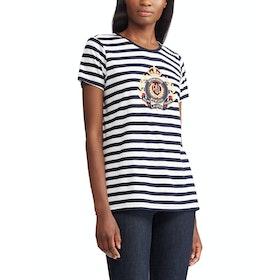 Lauren Ralph Lauren Katlin Knit Women's Short Sleeve T-Shirt - Lauren Navy White