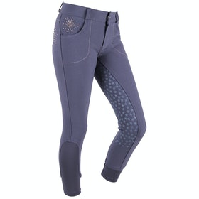 QHP Chelsey Anti Slip Full Seat Girls Riding Breeches - Dark Grey