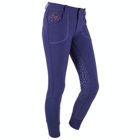 QHP Chelsey Anti Slip Full Seat Girls Riding Breeches - Navy