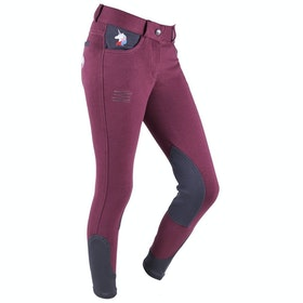 QHP Hanne Junior Girls Riding Breeches - Maroon