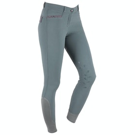 QHP Katie Anti slip Full Seat Ladies Riding Breeches - Grey Green