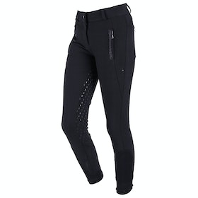 QHP Mellany Anti Slip Full Seat Girls Riding Breeches - Black