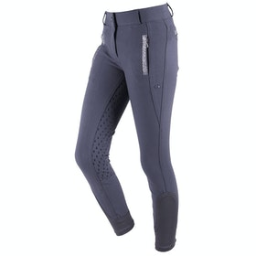 QHP Mellany Anti Slip Full Seat Girls Riding Breeches - Dark Grey