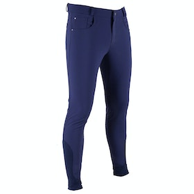 QHP Naud Knee Grip Mens Riding Breeches - Navy