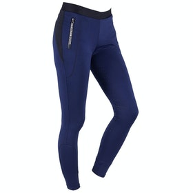 QHP Amelia Knee Grip Girls Riding Tights - Evening Blue