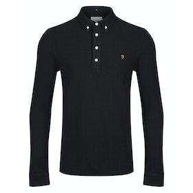 Farah Ricky Long Sleeve Polo Shirt - Black