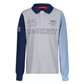 Hackett Aston Martin Racing Multi Long Sleeve Kid's Polo Shirt - Grey