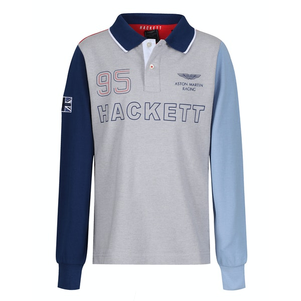 Hackett Aston Martin Racing Multi Long Sleeve Kid's Polo Shirt