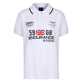 Hackett Aston Martin Racing Union Jack Kid's Polo Shirt - White