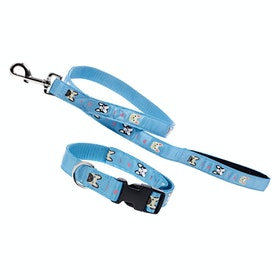 Derby House Pro Frenchie Print Lead and Dog Collar - Niagra Ash Rose