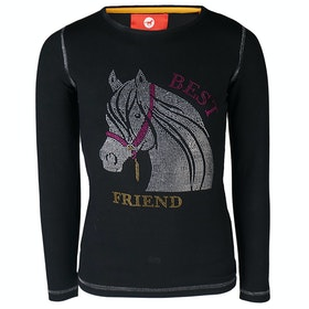 Horka Red Horse Flash Girls Top - Jet Black