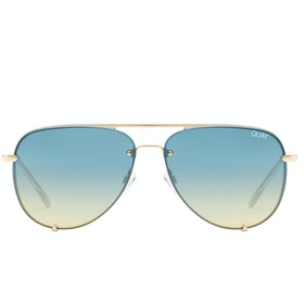 Quay Australia High Key Mini Rimless Women's Sunglasses - Gold Blue Turq ~ Blue