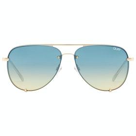 Quay Australia High Key Rimless Women's Sunglasses - Gold Blue Turq ~ Blue