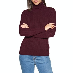 Sudadera Mujer Superdry Croyde Cable Roll Neck - Burgundy Marl