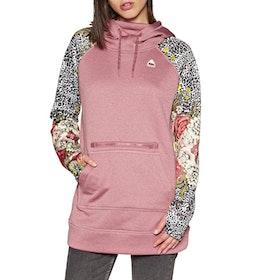 Burton Oak Long Womens Pullover Hoody - Rose Brown Heather Cheetah Floral