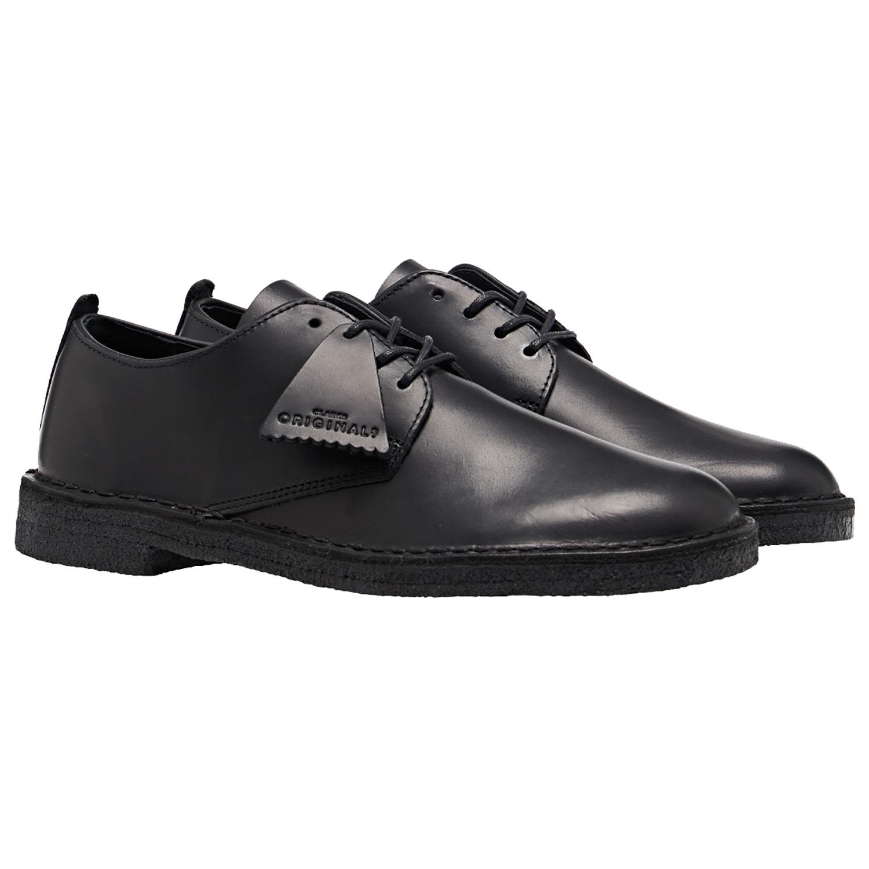 Clarks Originals Desert London Dress Shoes Black Polished