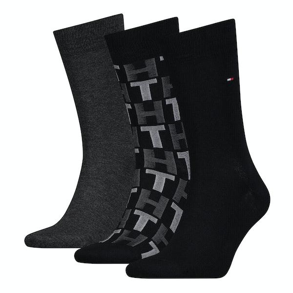 Tommy Hilfiger 3 Pack Mixed Stripes Giftbox Fashion Socks