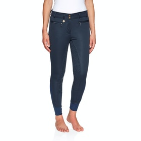 Derby House Elite High Waist Gel Full Seat Winter Ladies Riding Breeches - Navy