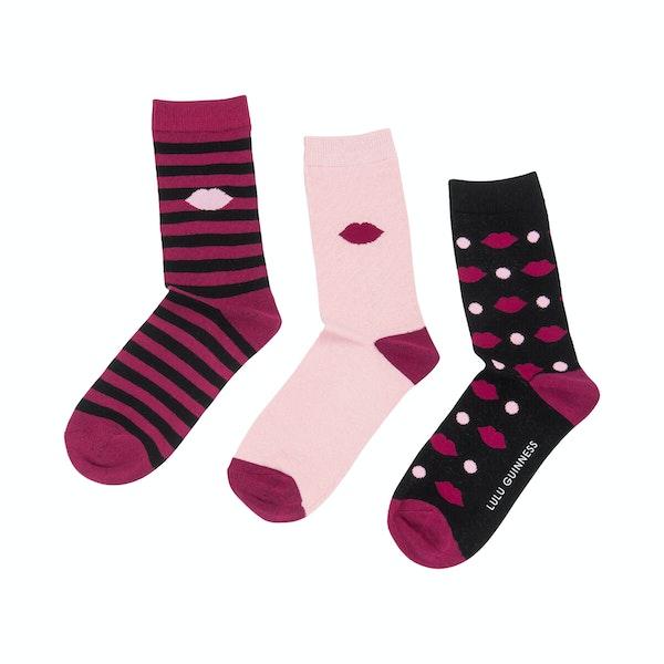 Lulu Guinness 3 Pack Crew Women's Socks