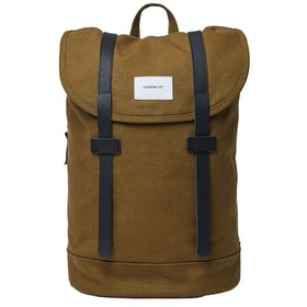 Sandqvist Stig Rucksack - Dark Olive With Black Leather