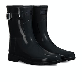 Hunter Original Short Refined Gloss Womens Wellies - Monotone Black