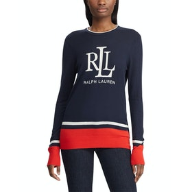 Lauren Ralph Lauren Abiah Long Sleeve Damen Pullover - Lauren Navy Sporting
