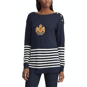 Lauren Ralph Lauren Kerensa Long Sleeve Women's Sweater - Lauren Navy Mascarpone Cream