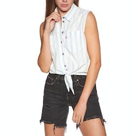 Levi's Alina Tie Short Sleeve Shirt - Amber Stripe Chambray