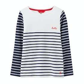 Joules Harbour Luxe Jersey Girls Top - Navy Chest Stripe